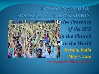 FORMATION COURSE  FOR SFO SPIRITUAL ASSISTANTS