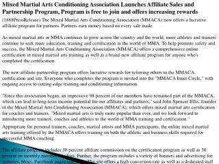 Mixed Martial Arts Conditioning Association Launches Affilia