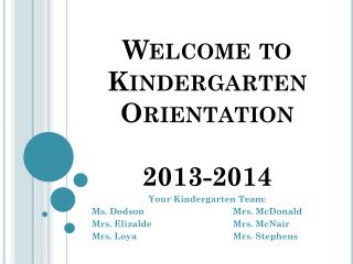 Welcome to Kindergarten Orientation  2013-2014