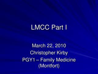 LMCC Part I