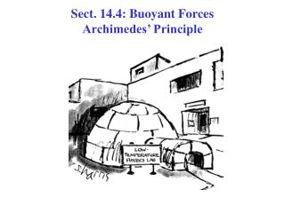 Sect. 14.4: Buoyant Forces  Archimedes  Principle