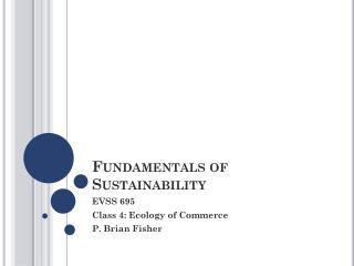 Fundamentals of Sustainability