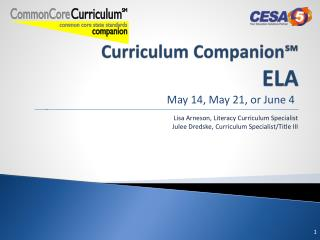 Curriculum Companion? ELA