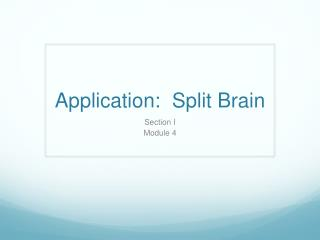 Application:  Split Brain