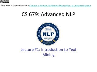 CS 679: Advanced NLP