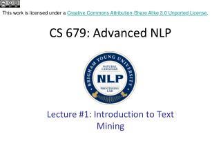 CS 679: Advanced NLP