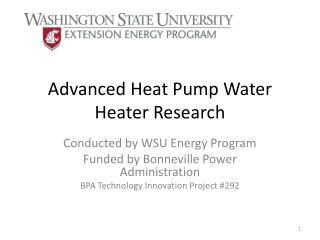 Advanced Heat Pump Water Heater Research