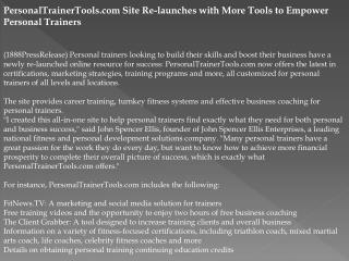 PersonalTrainerTools.com Site Re-launches with More Tools to