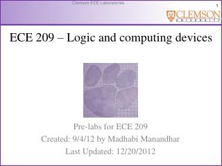 ECE  209 � Logic and computing devices