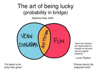 The art of being lucky (probability in bridge)