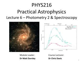 PHYS216  Practical Astrophysics Lecture 6 – Photometry 2 & Spectroscopy