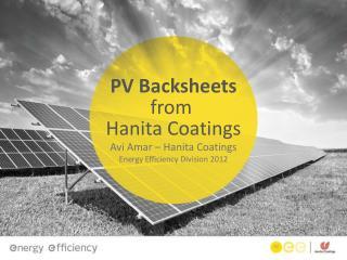 PV Backsheets from  Hanita Coatings