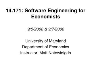 14.171: Software Engineering for Economists