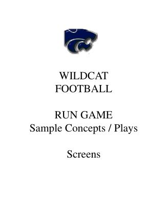 WILDCAT FOOTBALL RUN GAME Sample Concepts / Plays Screens