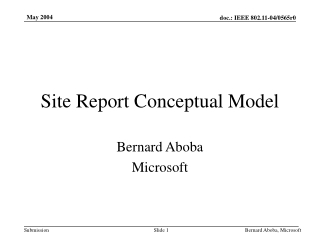 Thinking About the Site Report