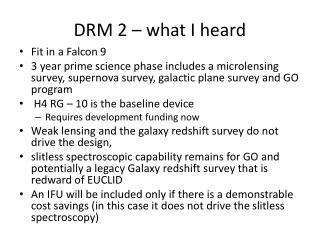 DRM 2 � what I heard