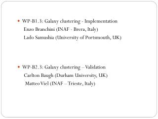 WP-B1.3: Galaxy clustering - Implementation Enzo Branchini  (INAF -  Brera , Italy)