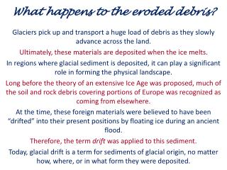 What happens to the eroded debris?