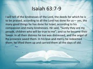 Isaiah 63:7-9