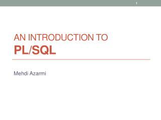 An Introduction to PL/SQL
