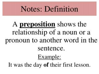 Notes: Definition