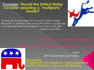 The Two-Party System: Democrats, Republicans, and GDIs