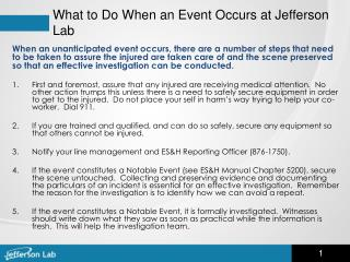 What to Do When an Event Occurs at Jefferson Lab