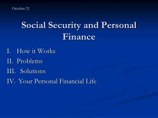 Social Security and Personal Finance