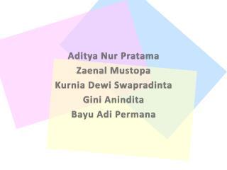 Aditya Nur Pratama Zaenal Mustopa Kurnia Dewi Swapradinta Gini Anindita Bayu Adi Permana