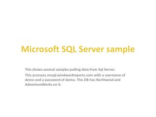 Microsoft SQL  Server sample
