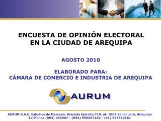 ENCUESTA DE OPINI N ELECTORAL  EN LA CIUDAD DE AREQUIPA