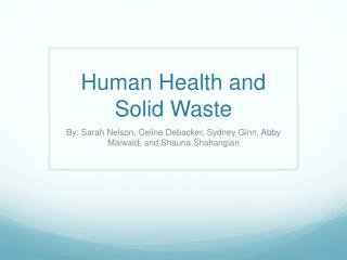 Human Health and Solid Waste