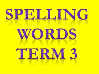 Spelling  Words Term 3
