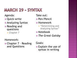 March 29 � Syntax