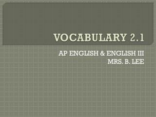 VOCABULARY 2.1