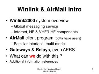 Winlink  AirMail Intro