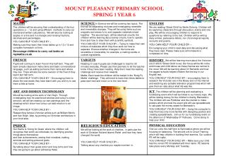 MOUNT PLEASANT PRIMARY SCHOOL SPRING 1 YEAR 6