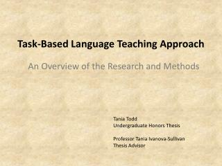 Task-Based Language Teaching Approach
