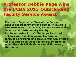 Professor Debbie  Page wins  the UCBA 2013 Outstanding Faculty Service Award.