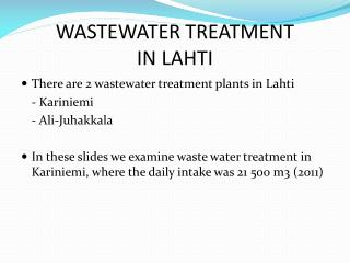 WASTEWATER TREATMENT IN LAHTI