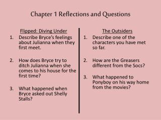 Chapter 1 Reflections and Questions