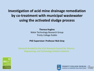 Theresa Hughes Water Technology Research Group Trinity College Dublin