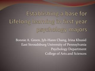 Establishing a base for Lifelong learning in first year psychology majors