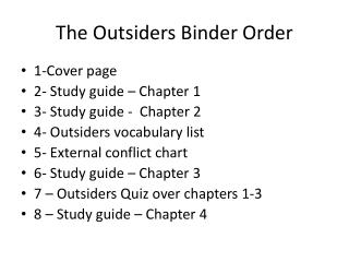 The Outsiders Binder Order