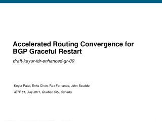 Accelerated Routing Convergence for BGP Graceful Restart