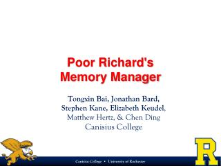 Poor Richard's  Memory Manager