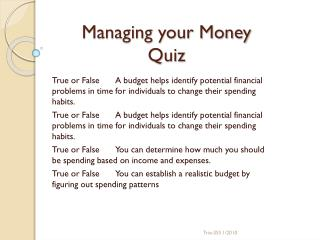 Managing your Money Quiz
