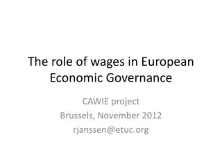 The  role  of  wages  in  European  Economic  Governance