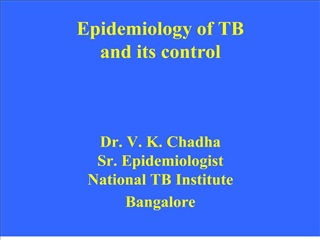 Epidemiology of TB and its control    Dr. V. K. Chadha Sr. Epidemiologist National TB Institute Bangalore