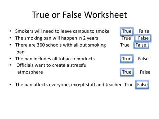 True or False Worksheet